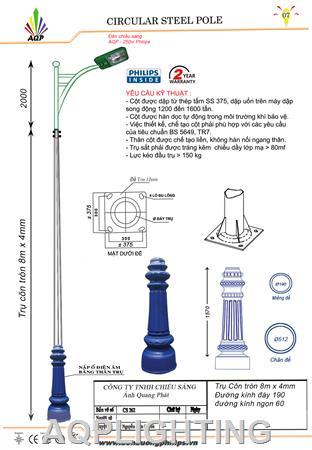 Trụ đèn STK Côn tròn 10m x 4mm